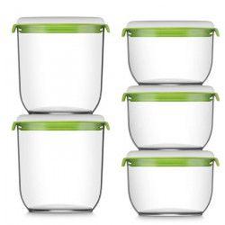 FOSA Récipients de mise sous vide alimentaire Pack21350-30850 - 1350-850 ml - Blanc et vert