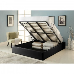 MAJESTY Lit coffre adulte contemporain simili noir + sommier - l 160 x L 200 cm