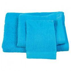 NAF NAF Lot de 1 drap de bain + 1 serviette de toilette et 1 serviette invité 100% coton - Bleu turquoise