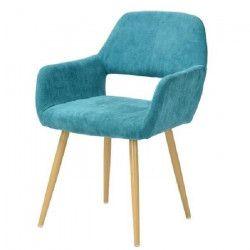CROMWELL Chaise de salle a manger en métal imprimé bois - Revetement tissu vert clair - Scandinave - L 56 x P 56