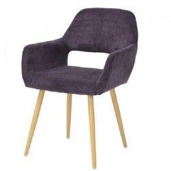 CROMWELL Chaise de salle a manger en métal imprimé bois - Revetement tissu violette - Scandinave - L 56 x P 56 cm