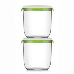 FOSA Lot de 2 récipients de mise sous vide alimentaire 21350 - 1350 ml - Blanc et vert