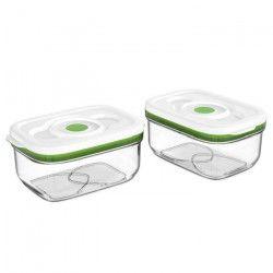 FOSA Lot de 2 récipients de mise sous vide alimentaire - 1450 ml - Blanc et vert