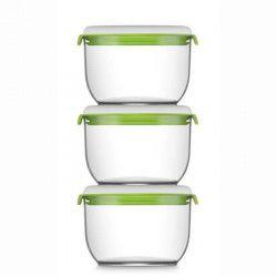 FOSA Lot de 3 récipients de mise sous vide alimentaire 30600 - 850 ml - Blanc et vert