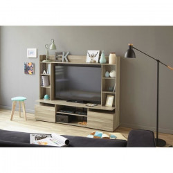 OHIO Meuble TV décor contemporain décor chene silex - L 166 cm