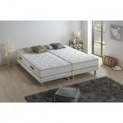Ensemble matelas ressorts + 2 sommiers tapissier - 180 x 200 - Confort équilibré - Epaisseur 23 cm - Galon gris -