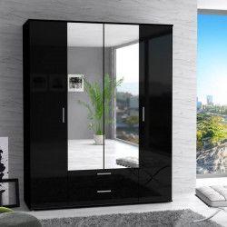 FINLANDEK Armoire de chambre SELKEÄ contemporain noir laqué brillant - L 161 cm