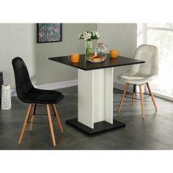 GUSTAVE Table a manger carrée de 2 a 4 personnes style contemporain noir et blanc - L 80 x l 80 cm