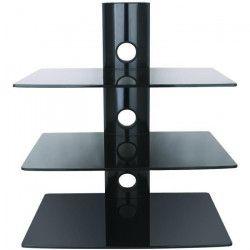 INOTEK FALCON 103 Tablette murale pour périphériques audio vidéos - 3 tablettes en verre noir sécurit - 3 x 15
