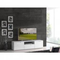 SIENNA Meuble TV contemporain blanc brillant - L 170 cm