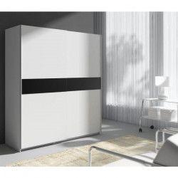 STAR Armoire style contemporain blanc et noir - L 170 cm