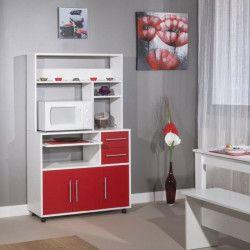 PEPPER Desserte de cuisine L 89 cm - Rouge et blanc mat