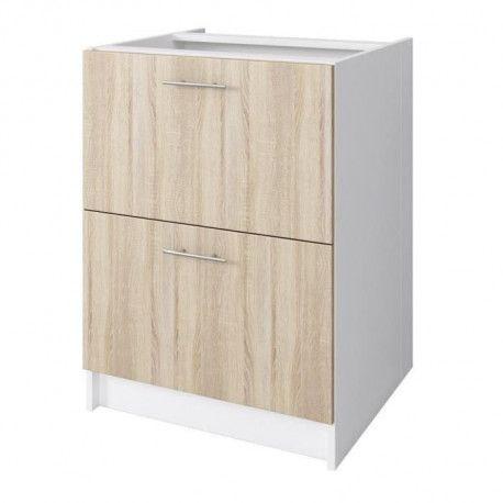 obi meuble bas casserolier l 60 cm d cor chene clair. Black Bedroom Furniture Sets. Home Design Ideas