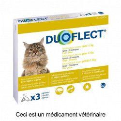 DUOFLECT Lot de 3 pipettes antiparasites - Pour chat moins de 5 kg