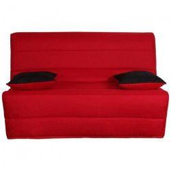 LIOM Banquette BZ 3 places - Tissu rouge - Style contemporain - L 142 x P 96 cm