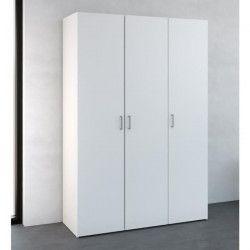 SPACE Armoire de chambre style contemporain - Blanc mat - L 175 cm