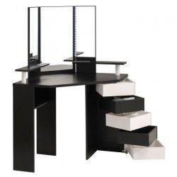 GLAM Coiffeuse avec LED style contemporain noir et blanc - L 114 cm