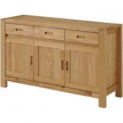 ETHAN Buffet bas classique placage chene et bois chene massif huilé doré - L 140 cm
