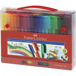 FABER-CASTELL Malette de 60 Feutres Connector - Coloris assortis