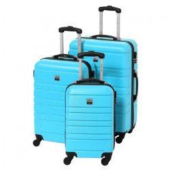 FRANCE BAG Set de 3 Valises Rigide ABS 4 Roues 55-65-70cm Bleu Ciel