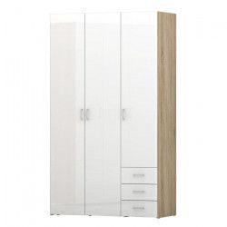 SPACE Armoire de chambre style contemporain - Blanc laqué brillant et décor chene - L 116 cm