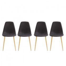 BJORK Lot de 4 Chaises en Simili Tissu noir - Pieds en acier - Scandinave - L 44 x P 44 ct