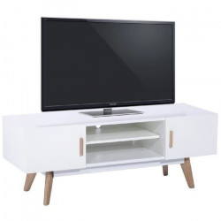 NORDIK Meuble TV scandinave blanc laqué avec cadre métal blanc et pieds bois chene massif vernis - L 120 cm