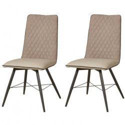 SHIMONE Lot de 2 chaises de salle a manger - Simili et tissu taupe - Style contemporain - L 46 x P 44 cm