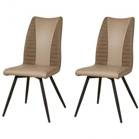 ROUVENE Lot de 2 chaises de salle a manger en métal Simili et tissu taupe Contemporain L 45 x P 43 cm