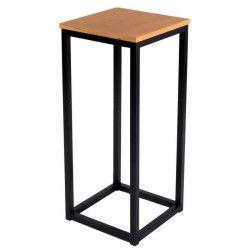 FACTO Bout de canapé industriel en métal époxy noir + plateau placage bois chene massif verni - L 35 cm