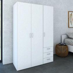 SPACE Armoire de chambre style contemporain - Blanc mat - L 116 cm