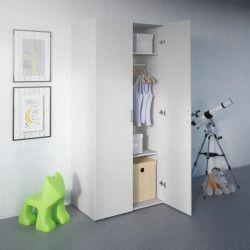 SPACE Armoire de chambre style contemporain - Blanc mat - L 78 cm