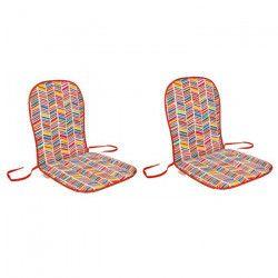 EZPELETA Set de 2 Coussins monoblocks bas Sol - 80 x 40 cm - Rouge et multicolore