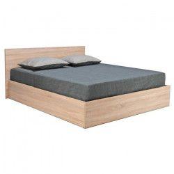 MADRID Lit coffre contemporain décor chene blanchi mat + sommier et tete de lit - l 160 x L 200 cm