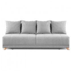 DUVAL Banquette convertible 3 places - Tissu gris clair - Style scandinave - L 192 x P 93 cm