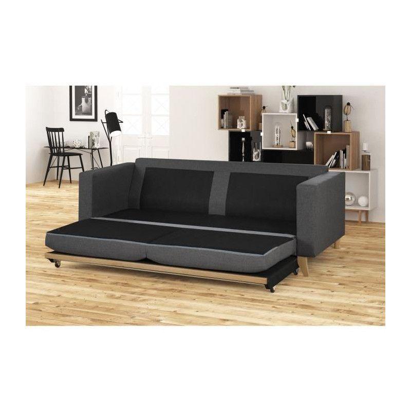cooper canap droit convertible 3 places tissu gris. Black Bedroom Furniture Sets. Home Design Ideas