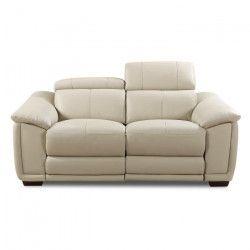 HELVETICA Canapé de relaxation droit fixe cuir et simili PU 2 places - Gris - Contemporain - L 176 x P 102 cm
