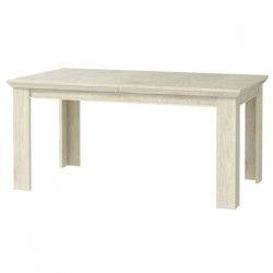 KASHMIR Table a manger extensible de 6 a 8 personnes classique décor pin blanc mat - L 207 x l 90 cm