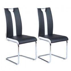 JADE Lot de 2 chaises de salle a manger - Simili noir et blanc - Style contemporain - L 43 x P 58 cm