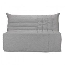 BETH Banquette BZ 2 places - Tissu gris - Comfort BULTEX - L 142 x P 101 x H 95