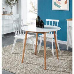BABETTE Table a manger ronde de 2 a 4 personnes scandinave blanc laqué satiné - Pieds en bois massif - Ø 87 cm