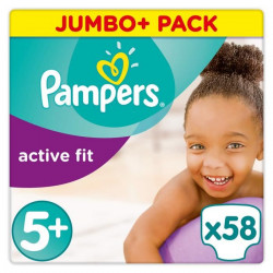 Pampers Active Fit Taille 5+, 13-25 kg, 58 Couches - Jumbo Pack