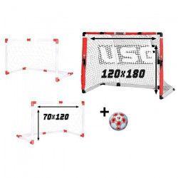 CDTS But de Foot 2 en 1 avec Filet + Ballon de Foot Taille 5 - Cage de foot 120 x 70 cm