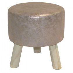 Pouf trépied bronze et pieds en pin Pearly Ø32 H34 cm