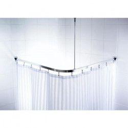 Barre de douche d`angle coulissantes + crochets - 90 x 90 x 90cm - Aluminium Poli