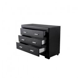 ZURICH Commode de chambre style contemporain en simili noir - L 100 cm
