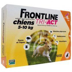 FRONTLINE 6 pipettes Tri-Act - Pour chien de 5 a 10 kg