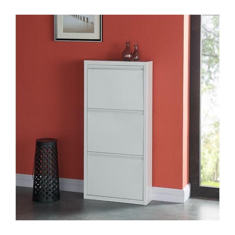 camden meuble a chaussures industriel en m tal blanc. Black Bedroom Furniture Sets. Home Design Ideas