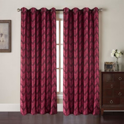 Paire de rideaux Zig Zag - 140x260 cm - Rouge bordeaux