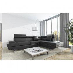 SCOOP Canapé d`angle droit 4 places - Simili noir - Contemporain - L 259 x P 182 cm